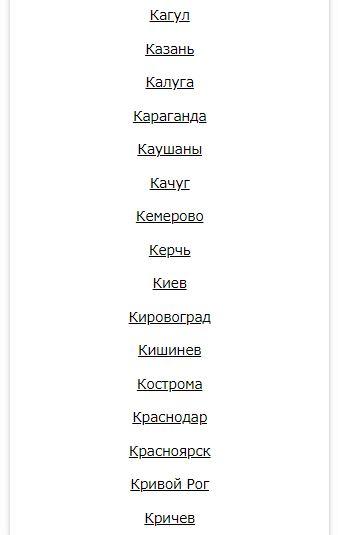 """Список городов на nomer org букву """"К"""""""