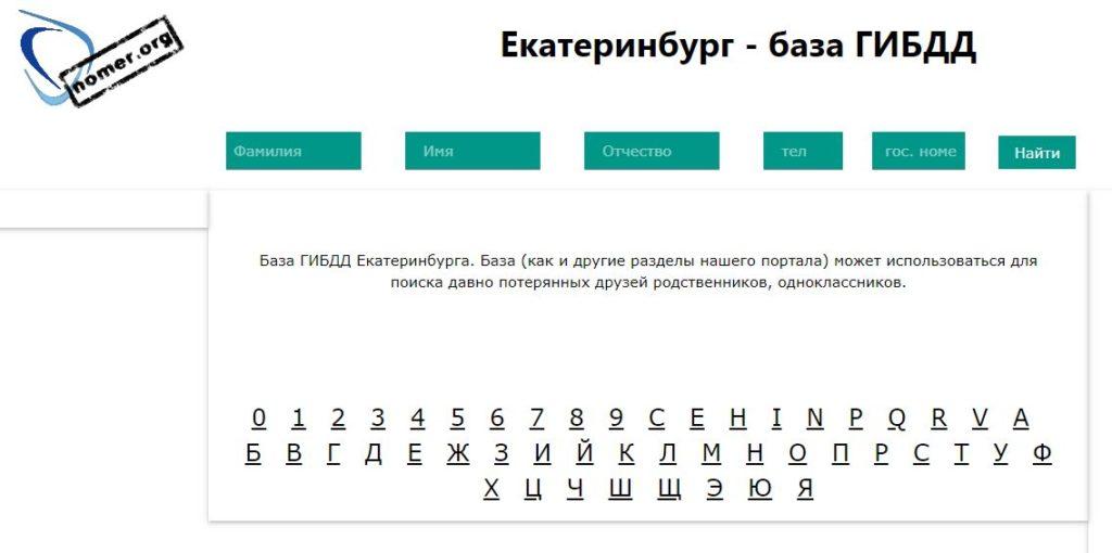 Екатеринбург - база ГИБДД на номер орг