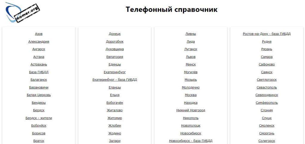 Номер орг телефонный справочник
